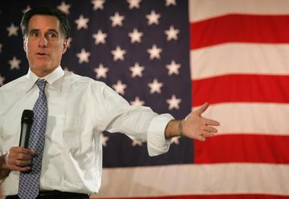 Large mitt romney campaigning