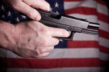 Large gun  american flag
