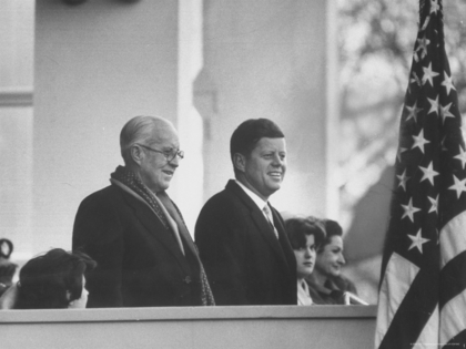 Large joe scherschel president john f kennedy stands at his inauguration ceremonies with his father joseph p kennedy